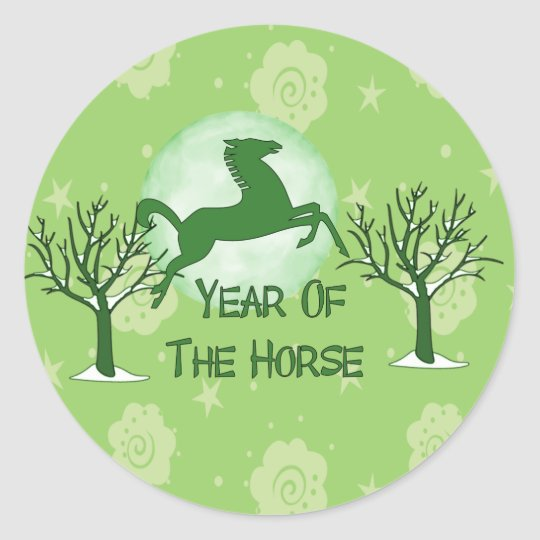 Green Horse and Moon Classic Round Sticker