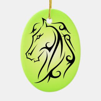 Green Horse Head Black Symbol Ornament