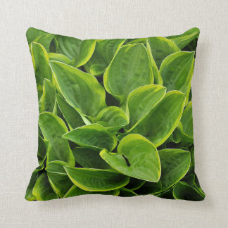 Green hosta leaves throw pillow