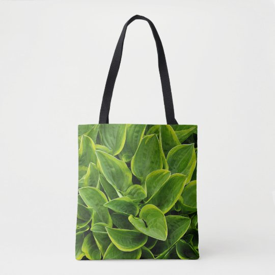 Green hosta plant leaves tote bag