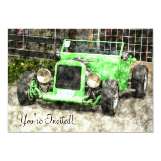 """Green Hotrod Vintage Classic Car Painted Style 5"""" X 7"""" Invitation Card"""