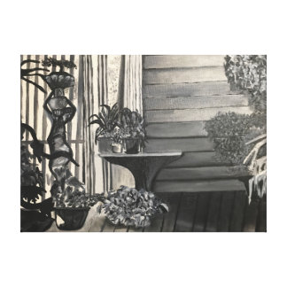 Green House Porch Black and White Oil Painting Canvas Print