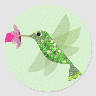Green Hummingbird Classic Round Sticker