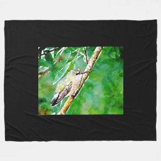 Green  hummingbird fleece blanket