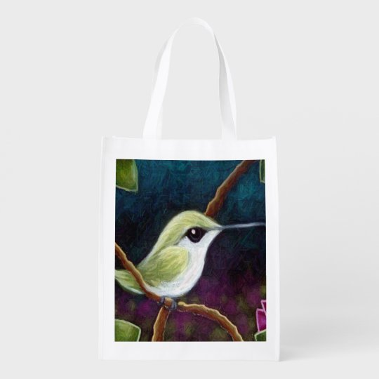 GREEN HUMMINGBIRD Reusable Grocery Bag
