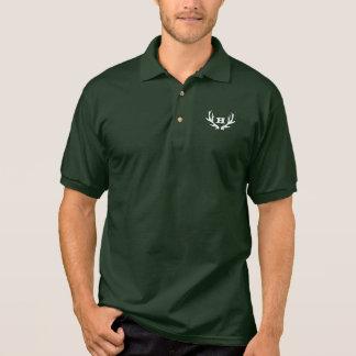 Green hunting polo shirt | custom deer antler logo