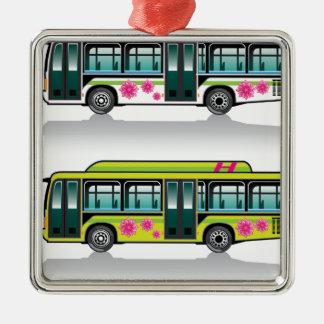 Green Hybrid Bus vector Metal Ornament