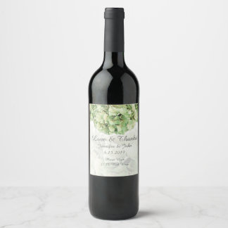 Green Hydrangea Wedding Collection Wine Label