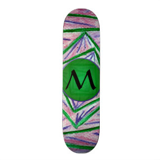 Green Hypnotic Squares with Green Monogram Skate Board