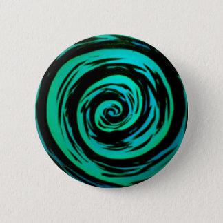 Green Hypnotic Swirl Art 2 Inch Round Button