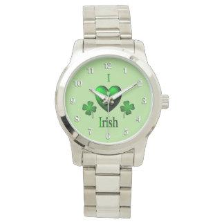 Green I Heart Irish w White Numbers Wristwatches