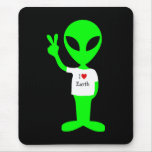 "Green ""I Love Earth"" Alien Mouse Pad"