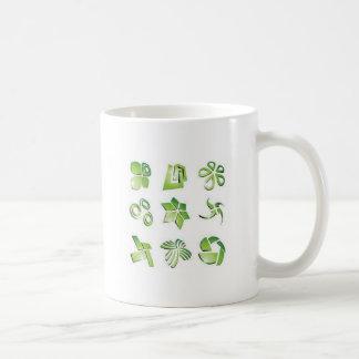 Green icon elements mugs