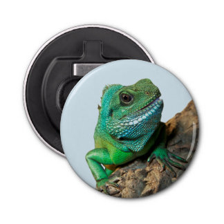 Green iguana button bottle opener