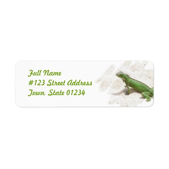 Green Iguana Lizard Return Address Label
