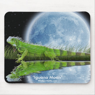 Green Iguana & Moon Wildlife Art Mousemat Mouse Pad