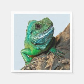 Green iguana paper napkin