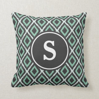 Green Ikat Monogram Throw Pillow
