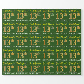 """Green, Imitation Gold Look """"13th BIRTHDAY"""" Wrapping Paper"""