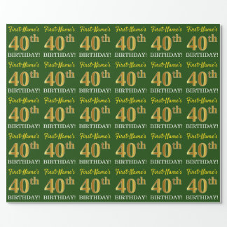 "Green, Imitation Gold Look ""40th BIRTHDAY"" Wrapping Paper"