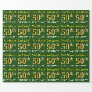 """Green, Imitation Gold Look """"50th BIRTHDAY"""" Wrapping Paper"""