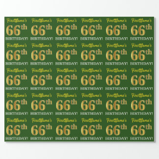 "Green, Imitation Gold Look ""66th BIRTHDAY"" Wrapping Paper"