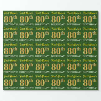 "Green, Imitation Gold Look ""80th BIRTHDAY"" Wrapping Paper"