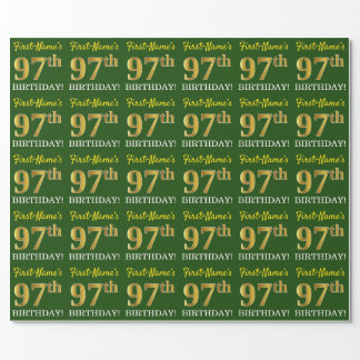 """Green, Imitation Gold Look """"97th BIRTHDAY"""" Wrapping Paper"""