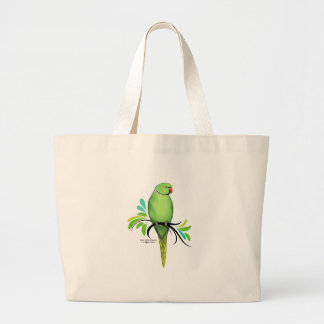 Green Indian Ringneck Parrot Large Tote Bag