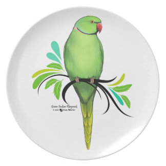 Green Indian Ringneck Parrot Plate