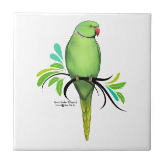 Green Indian Ringneck Parrot Tile