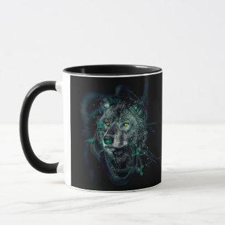 Green indian wolf mug