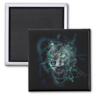 Green indian wolf square magnet