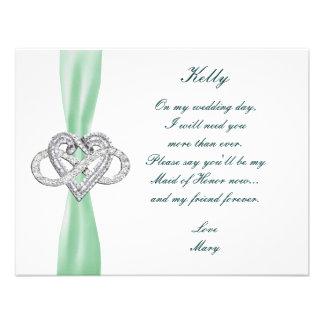Green Infinity Heart Maid Of Honor Card