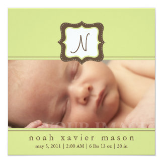 Green Initial Birth Announcement