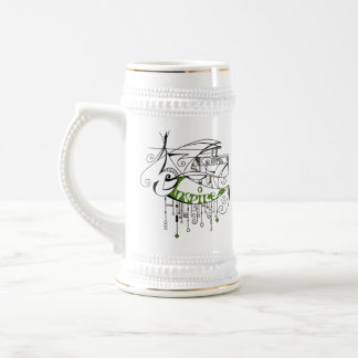 Green Inspire In Lines and Dangles Beer Stein