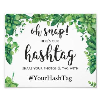 Green instagram hashtag sign Summer wedding poster