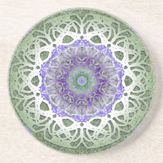 Green Iris Mandala Drink Coasters
