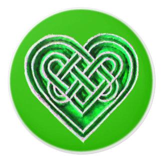 Green Irish Celtic Heart Ceramic Knob