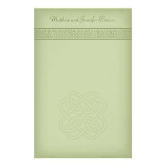 Green Irish Celtic Knot Personalized Stationary Stationery