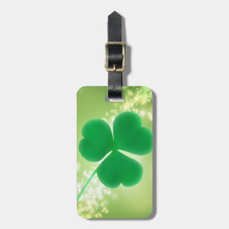 Green Irish Clover Elegant Bokeh Sparkles Custom Luggage Tag