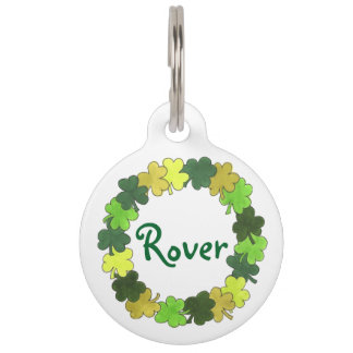 Green Irish Green Shamrock Clover Luck Pet Dog Tag