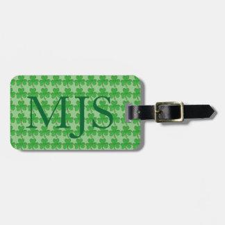 Green Irish Lucky Shamrock Clover Monogram Bag Tag