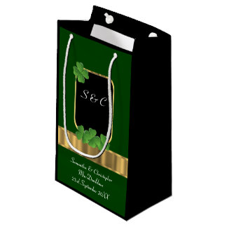 Green Irish shamrock personalized wedding Small Gift Bag