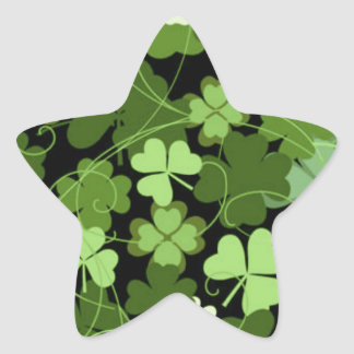 Green Irish Shamrock Star Sticker