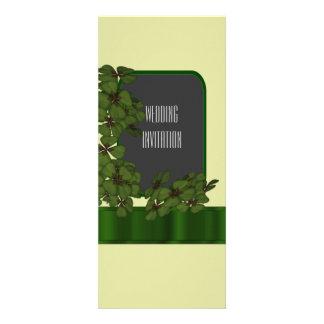 """Green Irish shamrock wedding 4"""" X 9.25"""" Invitation Card"""