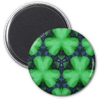 Green Irish Shamrocks 2 Inch Round Magnet