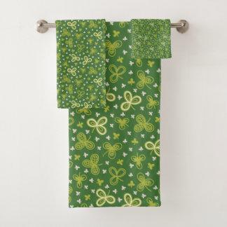 Green Irish Shamrocks Bath Towel Set