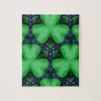 Green Irish Shamrocks Jigsaw Puzzle