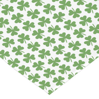 Green Irish Shamrocks Pattern Short Table Runner
